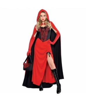 Costum carnaval femei Scufita Rosie de lux