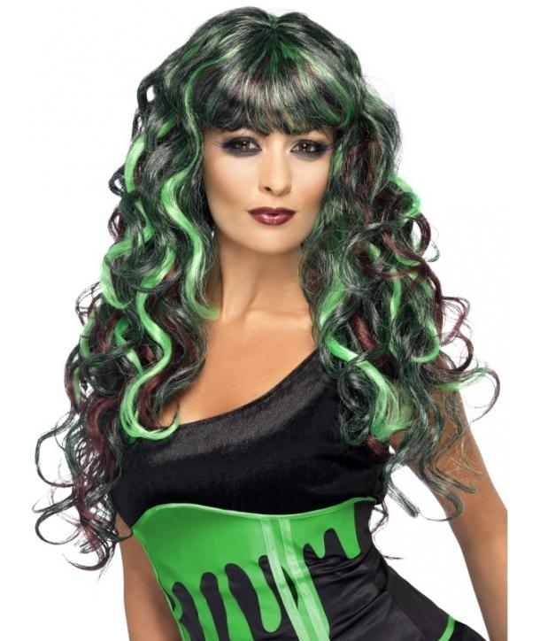 Peruca Halloween verde cu negru