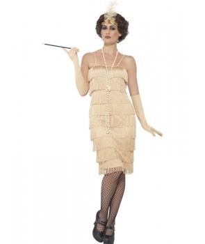 Costum carnaval femei anii 20 auriu cu manusi