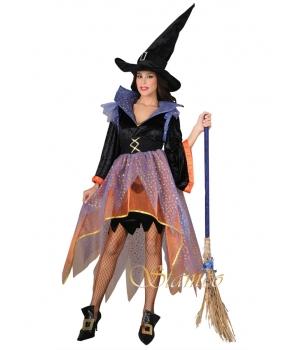 Costum Halloween femei vrajitoare multicolora
