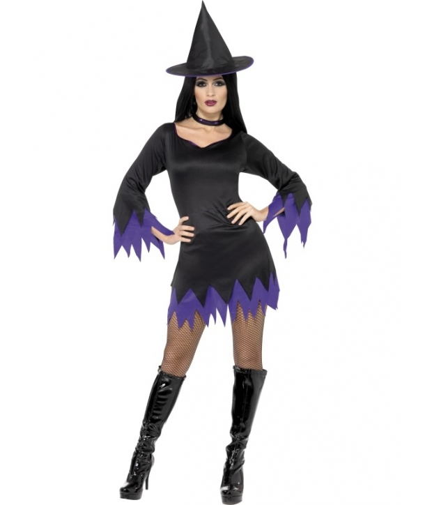 Costum femei vrajitoare negru cu mov Halloween