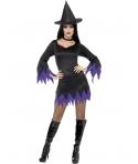 Costum Halloween femei vrajitoare negru cu mov