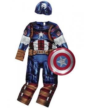 Costum carnaval baieti Capitan America de lux