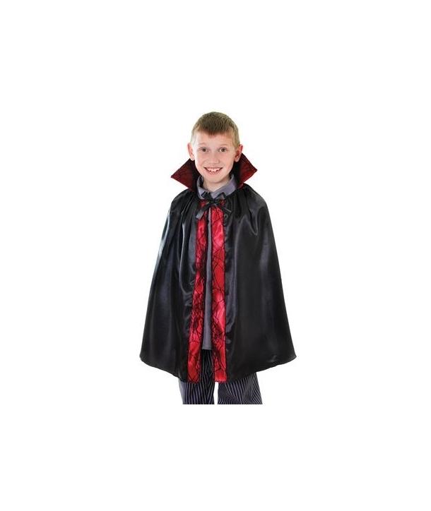 Pelerina copii neagra cu margine rosie Halloween