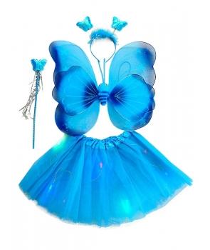 Set fluture fete albastru cu lumini