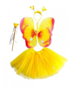 Set fluture fete galben cu lumini