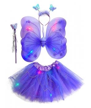 Set fluture fete mov cu lumini