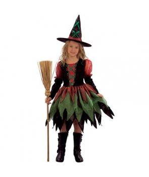 Costum fete vrajitoare multicolora Halloween