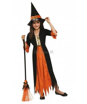 Costum Halloween fete vrajitoare portocalie