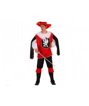 Costum carnaval barbati Muschetar cu rosu
