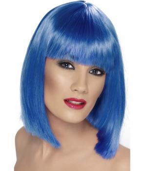 Peruca carnaval glam albastra