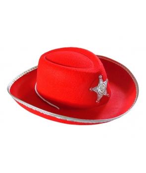 Palarie cowboy copii maro cu insigna