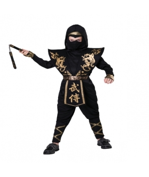 Costum carnaval baieti Ninja cu auriu