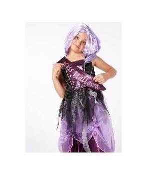 Costum Halloween fete Miss Halloween cu peruca