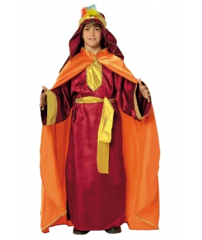 Costum Craciun copii Mag cu pelerina portocalie