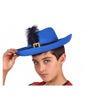 Palarie muschetar copii albastra