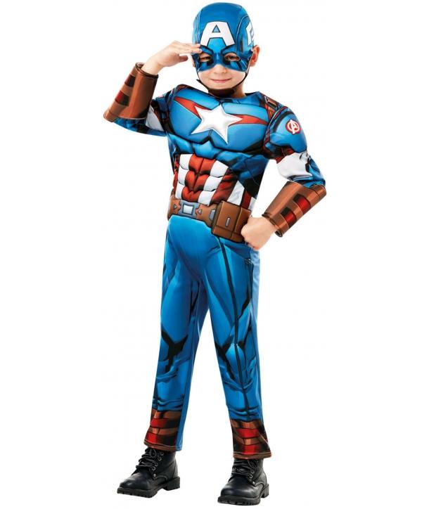 Costum carnaval baieti Capitan America nou