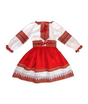 Costum national fete cu fusta rosie