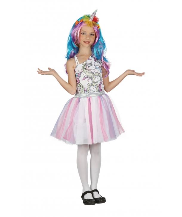 Costum carnaval fete Unicorn cu peruca