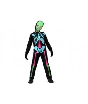 Costum Halloween baieti Schelet colorat