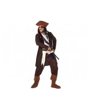 Costum carnaval barbati Pirat cu palarie maro