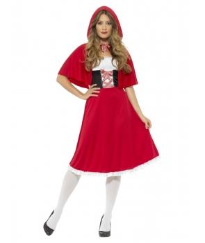 Costum carnaval femei Scufita Rosie cu pelerina