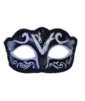 Masca de carnaval negru cu argintiu