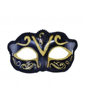 Masca de carnaval neagra cu auriu