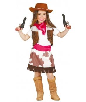 Costum carnaval fete Cowgirl cu esarfa roz