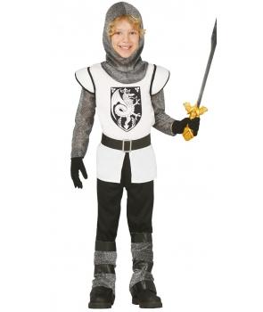 Costum carnaval copii Cavaler medieval cu alb