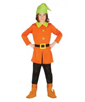 Costum carnaval copii Pitic cu portocaliu