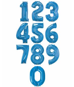 Baloane folie cifra albastru sidefat,100cm
