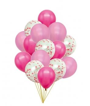 Set 15 baloane petrecere roz cu confetti
