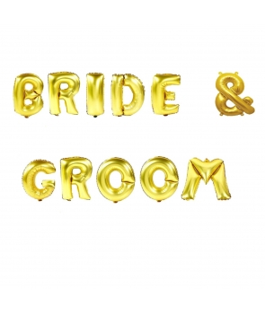 Set baloane folie Bride & Groom auriu