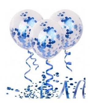 Set 3 baloane cu confetti albastre