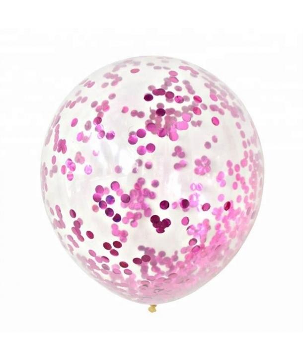 Set 3 baloane cu confetti roz