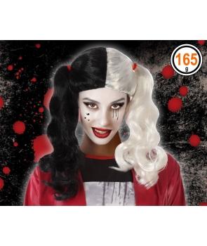 Peruca carnaval Harley Quinn alb,negru