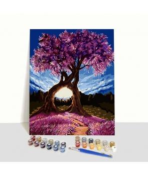 Set pictura pe numere Copac roz