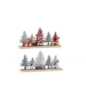 Peisaj de iarna cu brazi din lemn