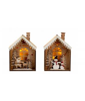 Casuta din lemn cu decoratiuni de Craciun, cu LED