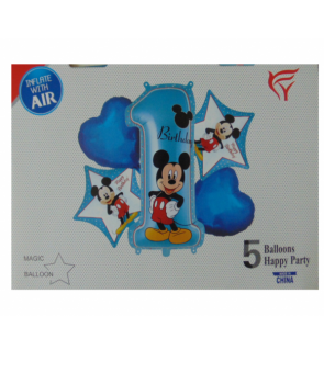 Set baloane folie Mickey Mouse prima aniversare