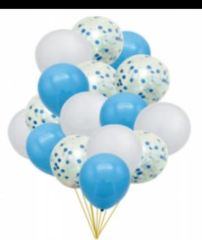 Set 15 baloane petrecere albastre cu confetti