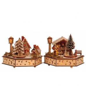 Cutie muzicala din lemn Peisaj de iarna
