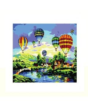 Set pictura pe numere Peisaj cu baloane in zbor