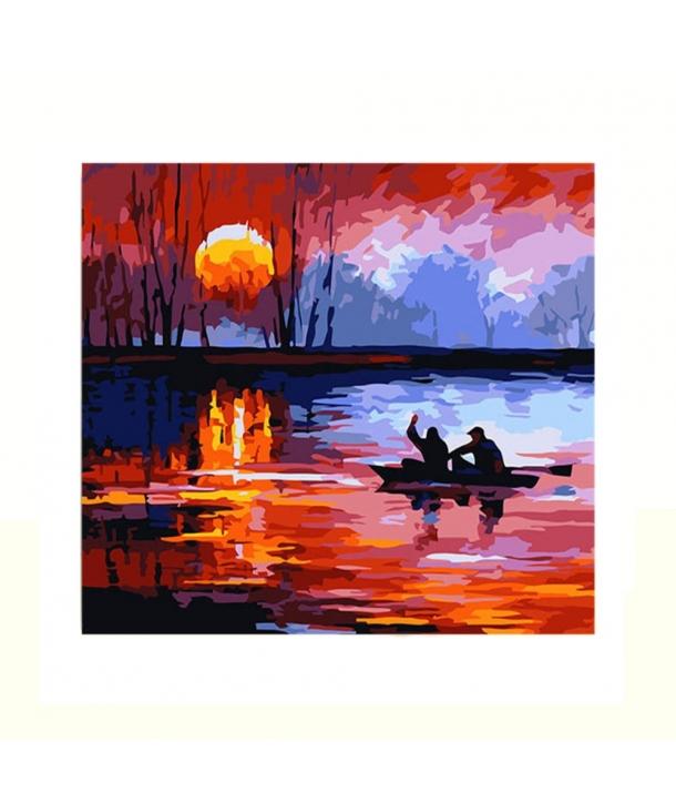 Set de pictura Peisaj cu Barca pe lac