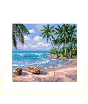 Set pictura pe numere Barca pe plaja