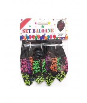 Set 6 baloane latex Happy Birthday negre