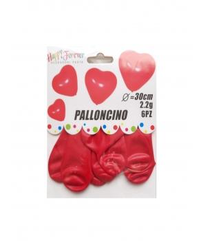 Set 6 baloane latex inima rosie