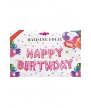 Set baloane folie Happy Birthday roz cu inimioare