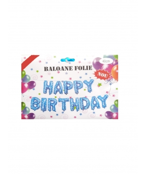 Set baloane folie Happy Birthday albastre cu stelute